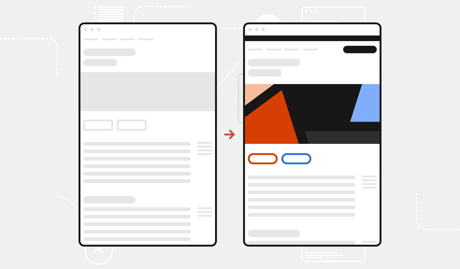 Side by side illustrations show before-and-after examples of a web page. One has the original page and the other shows that page with just a few design system components added.